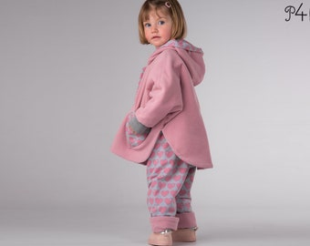 """Reversible cape pattern with sleeves and hood Model """"Mara"""" for girls and boys, with cuffs and snap fasteners, ebook, pdf, 6M to 9Y"""