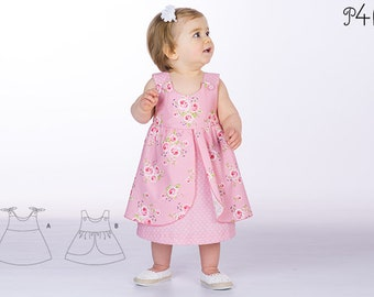 "Baby pinafore dress pattern, baby-dress pattern, girls dress patterns, summer-dress, one-piece, easy ebook pattern ""Rosa"" from Pattern4kids"