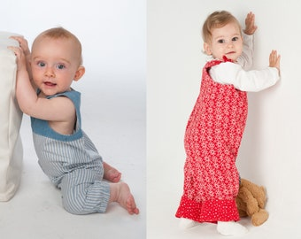 Baby dungaree sewing pattern pdf for boys + girls. With straps and padded yoke to buttons or hem +  loops BOBBY + LILLI&BO by Patternforkids