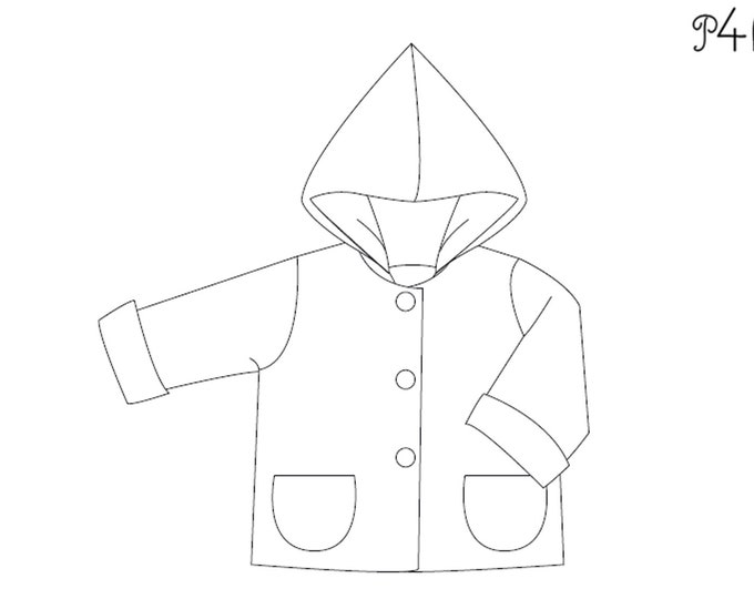 Lined baby jacket pattern for boys and girls. Hooded toddler coat unisex paper pattern 1M to 3Y TORETTO by Patternforkids