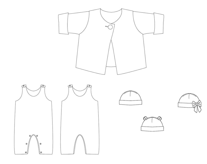 Baby outfit sewing pattern for jacket, overall and beanie, kids set for winter. Big sized paper pattern from Patternforkids