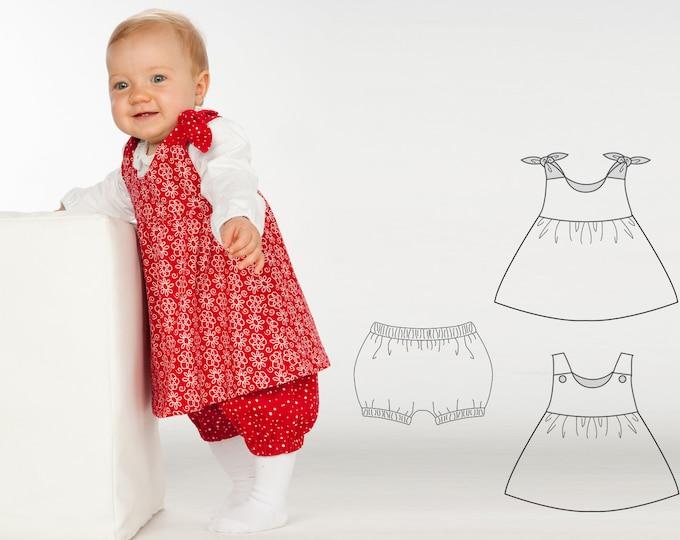 Baby girls twin set of easy pants + tunic dress sewing pattern pdf. Kids twinset combi pants + apron dress LIPSIA + ELISA by Patternforkids