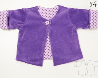 Baby girl jacket sewing pattern pdf for toddler girls and boys, lined sweater cardigan with button for infant FILIPPA by Patternforkids