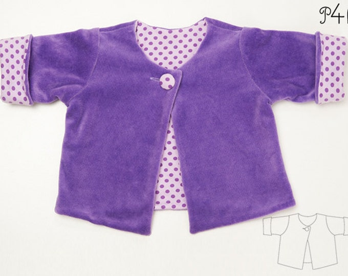 Baby girl jacket pattern for toddler girls and boys, lined sweater cardigan with button for infant and preemie FILIPPA by Patternforkids
