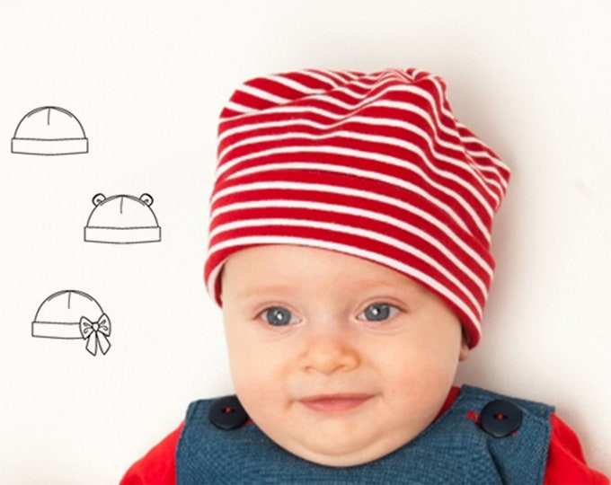 Easy Baby Hat sewing pattern pdf newborn to 3Y, for Children Boy + Girl Beanie in 3 Versions, Fully lined + Unlined BUBU from Patternforkids