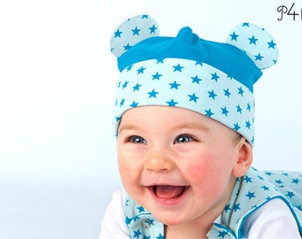 "Baby Hat pattern, Beanie,  sewing pattern ebook pdf, Boy Girl toddler children newborn 3 6 9 12 18m 2 - 10 yrs, ""Orso"" from Pattern4kids"