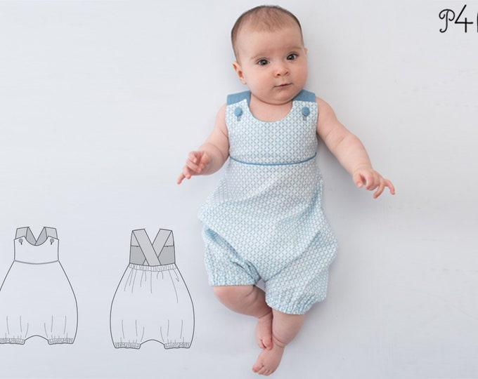Baby Coverall Dungaree Sewing Pattern pdf for boys and girls with buttoned straps, piping and elastic at the back PHIL by Patternforkids