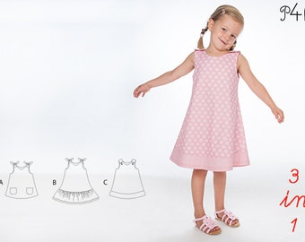 """Sewing pattern girls dress with hem and buttons as tunic, Model """"Steffi"""" by Pattern4kids"""