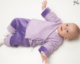 """Baby jacket pattern, Baby wrap jacket, lined reversible jacket for girls and boys with cuffs, 3 Variants, sewing pattern ebook """"Fiorino"""""""