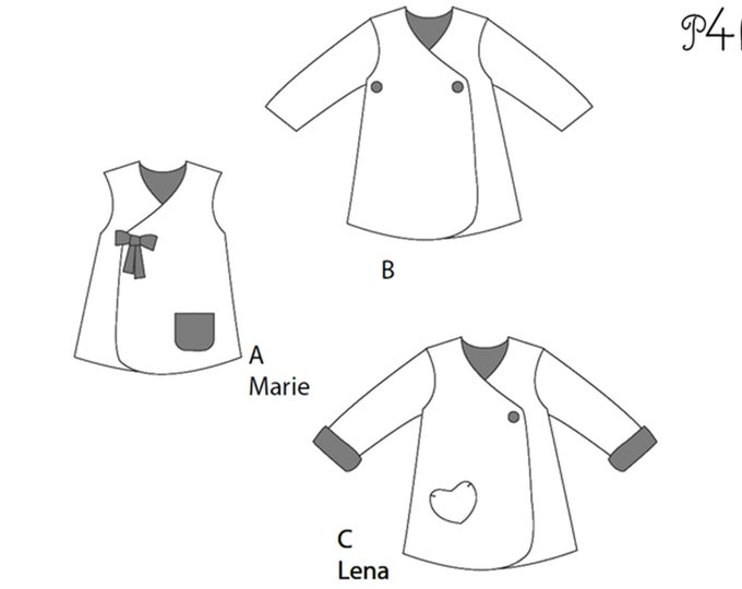 Lined baby tunic wrap dress pattern for girls. Easy sewing reversible dress with or without sleeves. Paper pattern MARIE by Patternforkids