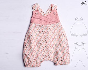 Baby overall sewing pattern pdf for girls and boys dungaree with loops and yoke. Easy lined jumpsuit winter + summer LUNA by Patternforkids