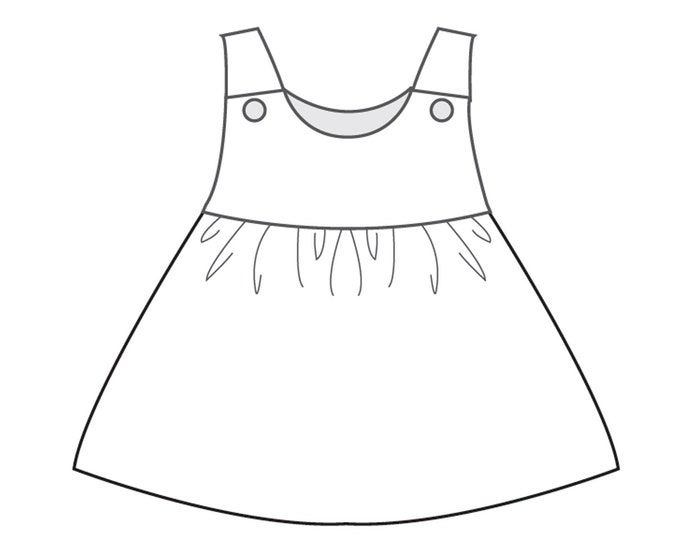 Baby Pinafore dress for girls with ruffled skirt sewing pattern. Lined girl tunic sizes 1M to 3Y CLARA by Patternforkids Paper pattern