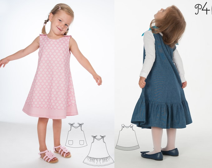 Baby girls dress sewing pattern, tunic with hem ruffles + bow ties or baby dress with buttons. Ebook pdf STEFFI + SIENA by Patternforkids