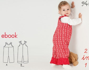 """Baby dungaree pattern, Overall, Romper with lined yoke + buttons, ebook sewing pattern, instructions, """"Lilli& Bo"""" from Pattern4kids"""