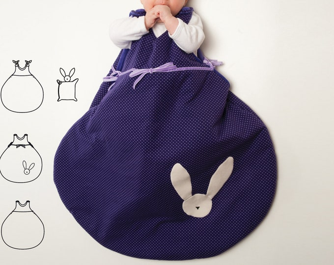 Baby sleep sack sewing pattern ebook pdf with bunny toy. Easy sleeping bag for newborn balloon shape TONDO + TONDINO by Patternforkids
