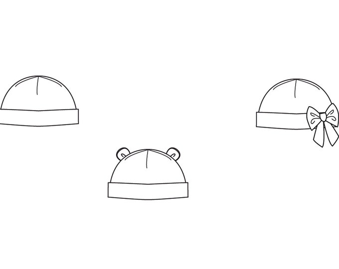 Easy Baby Hat sewing pattern newborn to 3Y, for Children Boy + Girl Beanie in 3 Versions, Fully lined + Unlined BUBU from Patternforkids