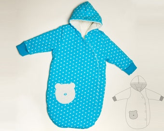 Baby sleep sack pattern lined with cuffs + hood. Kids sleeping bag Ebook PDF sizes 0M to 4Y NEVIO by Patternforkids