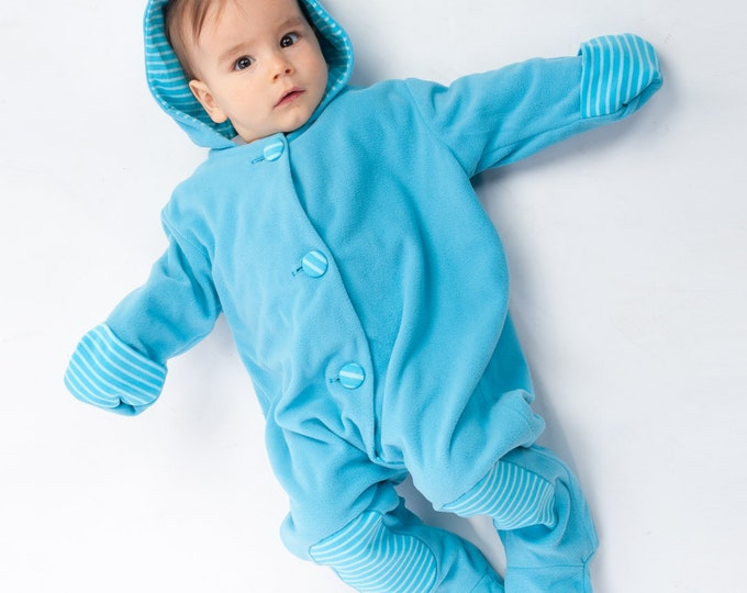 Lined baby overall pattern with hood, romper jumpsuit with feet and arm wrap. Hooded romper onesie sewing pattern DORIAN by Patternforkids