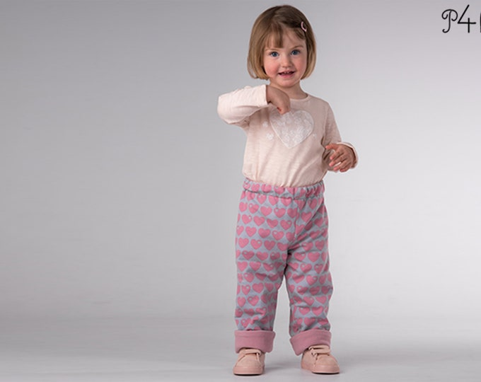 Boy Girl Harem Pants pattern Pdf, Knit Jersey Fleece Woven, Easy Toddler pants, fully lined reversible FIOCCO by Patternforkids