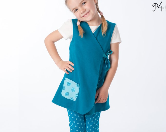 Baby dress pattern for girls. Easy sewing lined tunic wrap dress. Ebook pdf reversible dress with or without sleeves MARIE by Patternforkids