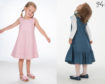 """Sewing pattern girls dress with bow and pocket as tunic, with hem ruffles and bows or hem and buttons """"Steffi"""" and """"Siena"""""""