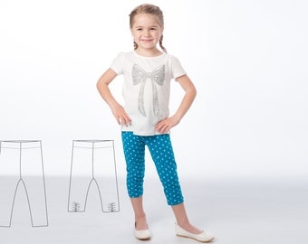 Leggings pattern for baby girls + boys, easy stretch pants pattern pdf for beginner. 2 Variants Ebook 9M to 6Y BIBI by Patternforkids