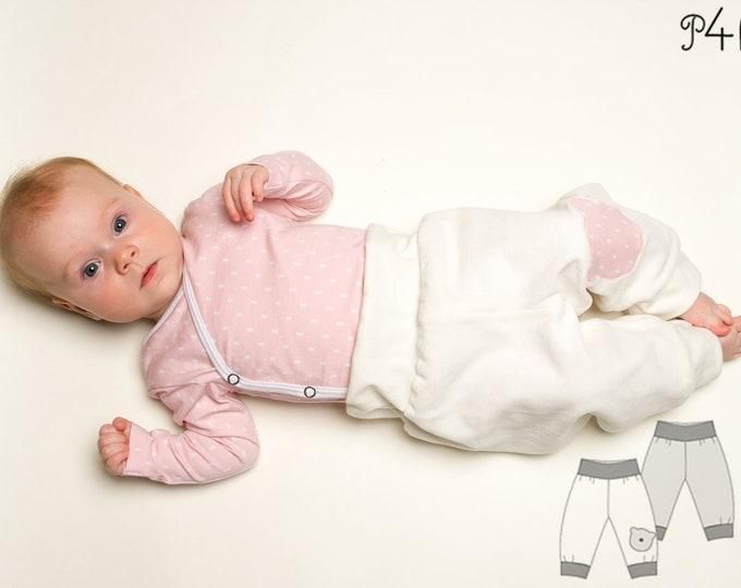 Baby yoga pants for boys + girls sewing pattern pdf. Sweatpants, reversible harem pants with ribbing BEBE by Patternforkids