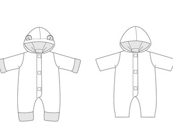 Baby boys + girls overall sewing pattern.  Lined toddler jumpsuit with hood + ears, dungaree for carnival CASSIA by Patternforkids