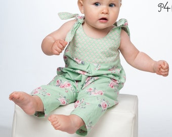 """Baby dungaree pattern  without center seam with loops made of lining material and yoke on the back side model """"Lotte"""" by Pattern4kids. Ebook"""