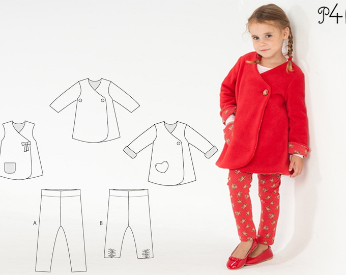 Baby girls leggings + dress pattern bundle. Girls tunic wrap jacket set with stretch pants. Ebook pdf download ENNA + LENA by Patternforkids