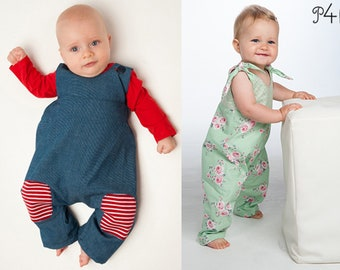 Baby overall dungaree sewing pattern pdf with bows or buttons for boys + girls. 2 patterns bundle. ebook LOTTE + ARTURO by Patternforkids