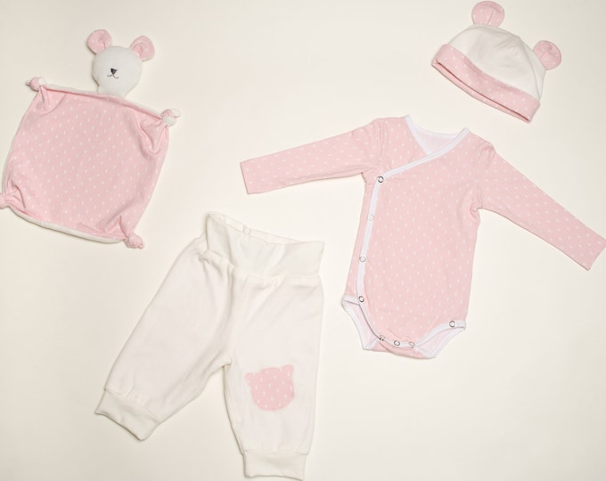 Baby Set pdf Pattern bodysuit yoga pants beanie and cuddly toy for girls + boys easy to put on, CIELO BEBE and TEDDY from Patternforkids