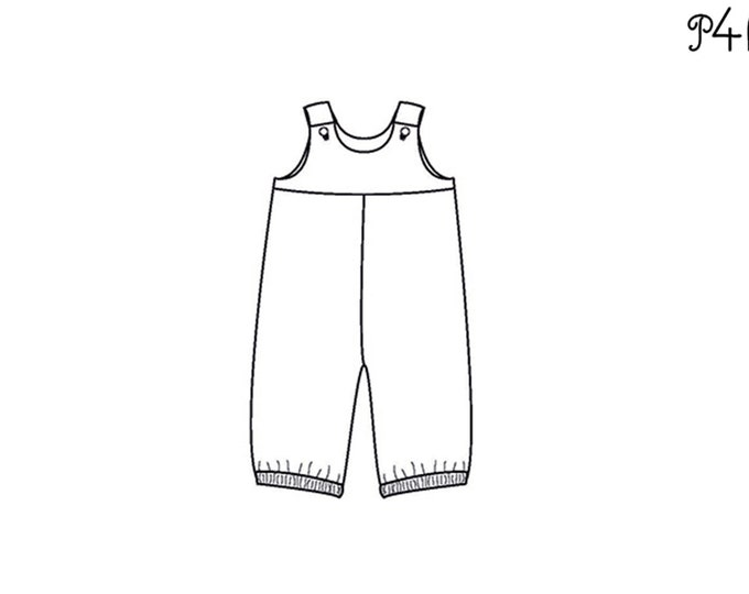 Baby girls + boys overall sewing pattern with straps BOBBY by Patternforkids. Toddler dungaree with padded yoke and elastic drawstring
