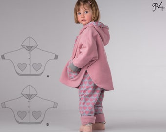 Girl baby girls poncho sewing pattern pdf. Lined unisex reversible cape with sleeves, hood and cuffs 6M to 9Y MARA by Patternforkids