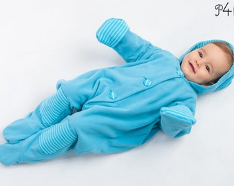 """Sewing pattern jumpsuit for baby with hood, feet and arm wrap, warm lined, perfect as a suit for carnival. Model """"Dorian"""" by Pattern4kids"""