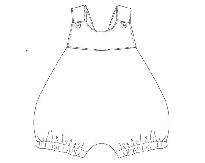 Baby overall sewing pattern for girls and boys dungaree with loops and yoke. Easy lined jumpsuit winter + summer LUNA by Patternforkids
