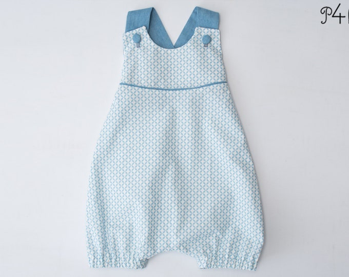 Baby Overall Dungaree Sewing Pattern for boys and girls with buttoned straps, piping and elastic at the back PHIL by Patternforkids