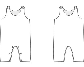 Baby overall sewing pattern for girls + boys dungaree. Easy lined newborn jumpsuit for winter + summer PLINIO by Patternforkids