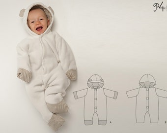 Baby boys + girls overall sewing pattern pdf. Lined toddler jumpsuit with hood + ears, dungaree for carnival Ebook CASSIA by Patternforkids