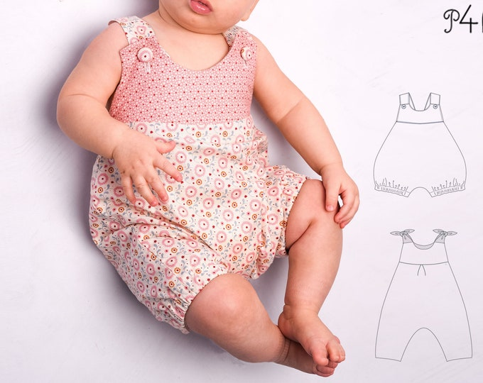 "Baby overall sewing pattern, one piece, jumpsuit, romper, dungaree, children, babies toddler, Baby Girl Boy, Ebook ""Luna"" from Pattern4kids"