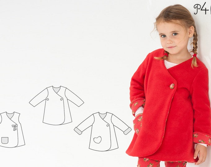 Reversible Girl Baby Girl Jacket sewing pattern Pdf. Easy infant dress for summer or coat for winter. Ebook pdf LENA by Patternforkids
