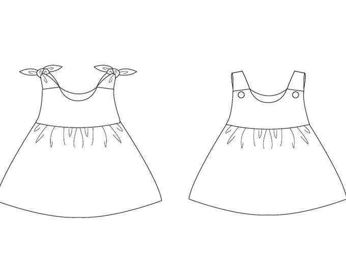 Lined baby tunic dress for girls pattern. Pinafore dress sizes 1M to 3Y. Easy paper sewing pattern for baby LIPSIA by Patternforkids