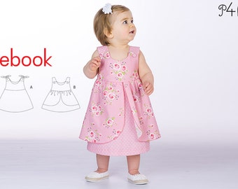 Baby pinafore dress pattern, baby-dress pattern, girls dress patterns, summer-dress, one-piece, easy ebook pattern