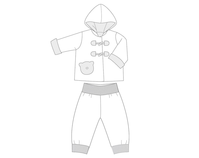 Baby girls + boys duffle coat and pants sewing pattern bundle. Hooded jacket and lined toddler pants 1M to 3Y BRIO + LUCCA by Patternforkids
