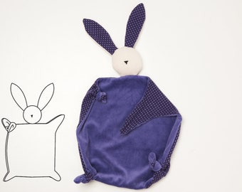 Baby pattern for cuddly  bunny toy stuffed animal. Easy tooth cloth Ebook pdf sewing pattern for beginner TONDINO by Patternforkids