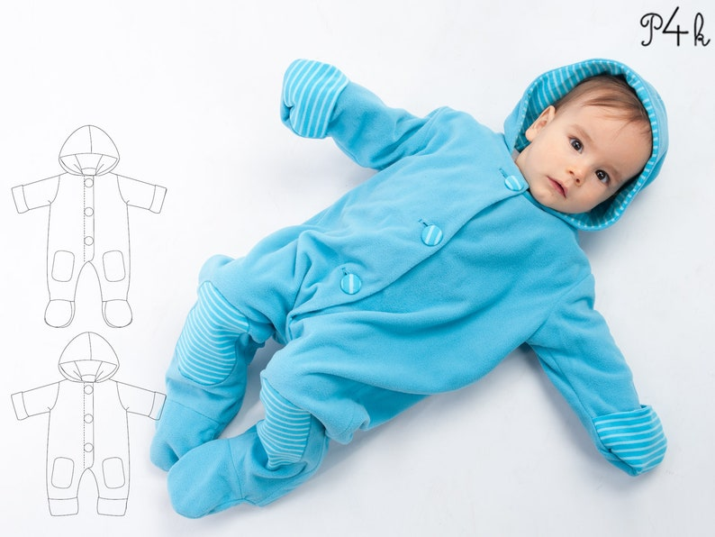 03d30022c Lined baby overall pattern with hood romper jumpsuit with