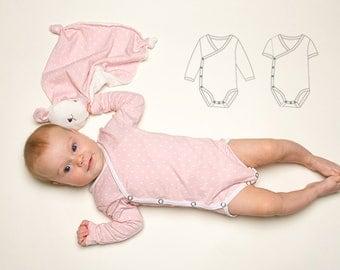 Baby Romper Jon Jon pdf Pattern, Overall, bodysuit onesie for girls + boys easy to put on, winding toddler body CIELO from Patternforkids