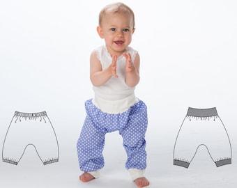 Baby Boy Girl Harem Pants pattern Pdf sewing pattern for toddler boys + girls. Sweatpants, yoga pants with ribbing BREK by Patternforkids
