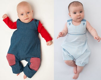Baby overall dungaree sewing pattern pdf for boys + girls. 2 patterns bundle. ebook PHIL + ARTURO by Patternforkids
