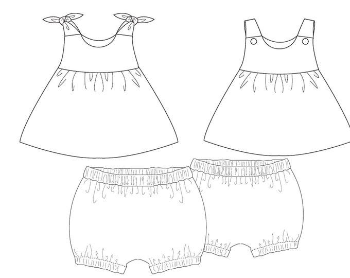 Baby girls twin set of easy pants + tunic dress sewing pattern. Kids twinset combi pants + apron dress LIPSIA + ELISA by Patternforkids